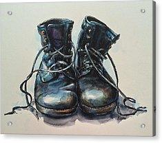 Old Boots Acrylic Print by Christine Karron