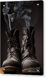 Old Boots With Smoke Acrylic Print