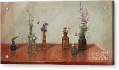 Old Bottles And Wildflowers Acrylic Print by Lori  McNee