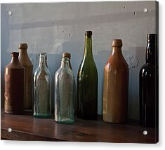 Old Bottles In North Light Acrylic Print by Michael Flood