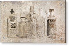 Old Bottles With Texture Acrylic Print