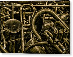 Old Brass Musical Instruments Acrylic Print by Dave Gordon