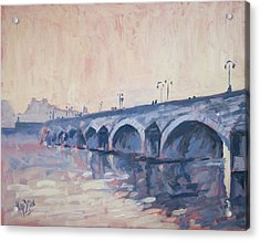 Old Bridge Of Maastricht In Warm Diffuse Autumn Light Acrylic Print by Nop Briex