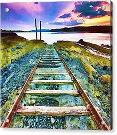Old Broken Railway Track Watercolor Acrylic Print