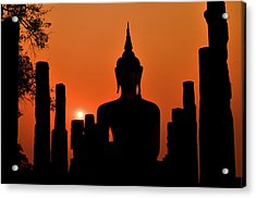 Old Buddha Silhouette In Sukhothai Historical Park Acrylic Print by Alexandre MOREAU