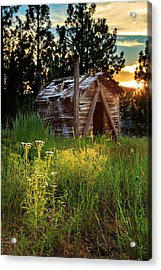 Old Cabin At Sunset Acrylic Print by James Eddy