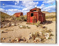 Acrylic Print featuring the photograph Old Caboose At Rhyolite by James Eddy