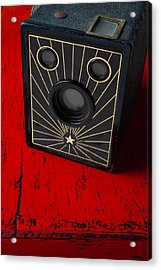 Old Camera On Red Table Acrylic Print by Garry Gay