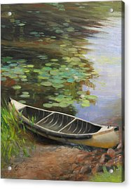 Old Canoe Acrylic Print by Anna Rose Bain