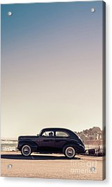 Old Car At The Beach Acrylic Print by Edward Fielding