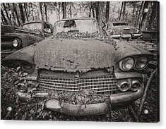 Old Car City In Black And White Acrylic Print