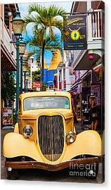 Old Car On Old Street Acrylic Print