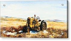 Old Case Tractor Acrylic Print by Gary Wynn