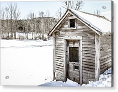 Old Chicken Coop In Winter Acrylic Print by Edward Fielding
