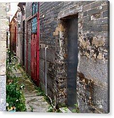 Old Chinese Village Narrow Walkway Acrylic Print by Kathy Daxon