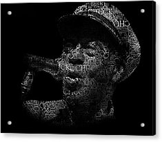 Old Chuck Berry Singing Text Portrait - Typographic Face Poster With The Name Of Chuck Berry Albums Acrylic Print