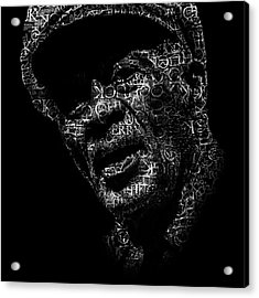 Old Chuck Berry Text Portrait - Typographic Face Poster With The Name Of Chuck Berry Albums Acrylic Print by Jose Elias - Sofia Pereira
