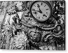 Old Clock And Dahlias Acrylic Print