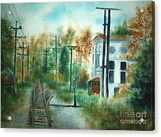 Old Cn Station Fort Langley Bc Acrylic Print by Vivian  Mosley