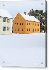 Old Colonial Wood Framed Houses In Winter Acrylic Print by Edward Fielding
