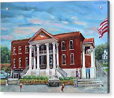 Acrylic Print featuring the painting Old Courthouse In Ellijay Ga - Gilmer County Courthouse by Jan Dappen