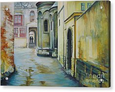 Acrylic Print featuring the painting Old Courtyard by Elena Oleniuc