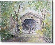 Old Cover Bridge At Pee Dee River Acrylic Print by Gloria Turner