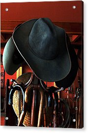 Acrylic Print featuring the photograph Old Cowboys Never Die by Irma BACKELANT GALLERIES
