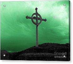 Old Cross - Green Sky Acrylic Print