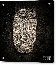 Old Crushed Can. Acrylic Print by Bernard Jaubert