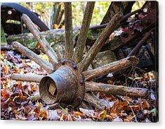 Old Decaying Wagon Wheel Acrylic Print by Tom Mc Nemar