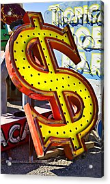 Old Dollar Sign Acrylic Print by Garry Gay