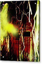 Old Door Ghost Halloween Scary Card Print Acrylic Print by Kathy Daxon