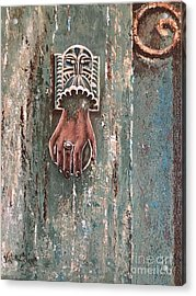Old Door Knocker Greece  Acrylic Print by Viktoriya Sirris