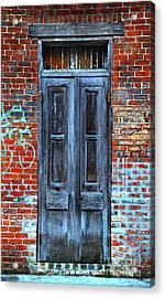 Old Door With Bricks Acrylic Print by Perry Webster