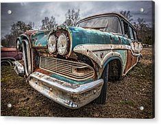 Old Edsel Acrylic Print by Debra and Dave Vanderlaan