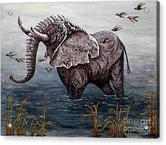 Old Elephant Acrylic Print by Judy Kirouac