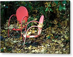 Acrylic Print featuring the photograph Old Empty Chairs by Gwyn Newcombe