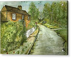 Acrylic Print featuring the painting Old English Cottage by Teresa White