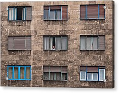 Old European Building With Woman Looking Out Window Acrylic Print by Aaron Sheinbein
