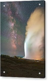 Old Faithful Erupts At Night Acrylic Print