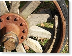 Old Farm Wheel Acrylic Print by Peter  McIntosh