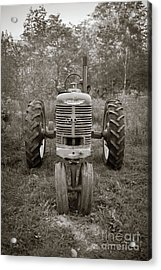 Acrylic Print featuring the photograph Old Farmall Tractor Springfield New Hampshire Sepia by Edward Fielding