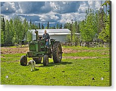Old Farmer Old Tractor Old Dog Acrylic Print