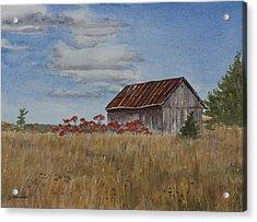 Old Farmer's Barn Acrylic Print by Debbie Homewood