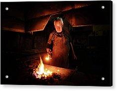Old-fashioned Blacksmith Heating Iron Acrylic Print