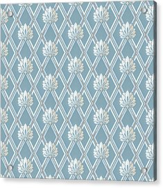 Acrylic Print featuring the digital art Old Fashioned Blue Lattice Fan Wallpaper Pattern by Tracie Kaska