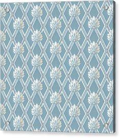 Acrylic Print featuring the digital art Old Fashioned Blue Lattice Fan Wallpaper Pattern by Tracie Kaska