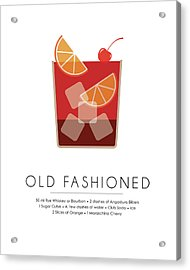 Old Fashioned Classic Cocktail -  Minimalist Print Acrylic Print