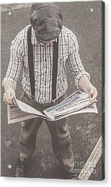 Old-fashioned Man Perusing The Latest Newspaper Acrylic Print